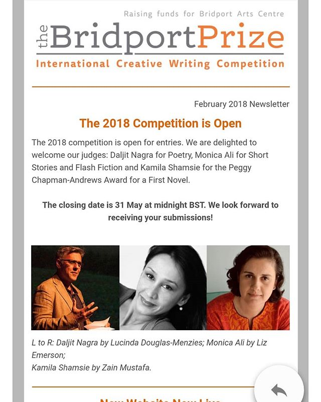 Bridport Prize for poetry, short story, first novel and flash fiction is open now until 31st May. Get revising!