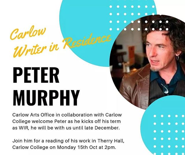 I always see the value of having someone to read my writing and give me help, support and push me on. I'm ultra fortunate that this guy, brilliant author and rock dude, Peter Murphy is writer in Residence in Carlow till December! He reads work so carefully and really has given my writing the focus it needs. Go raibh.